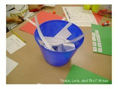 """Garbage Bowls--whenever the class is doing a cutting activity, put a """"garbage bowl"""" on the table...it collects paper scraps, eliminates paper on the floor, and keeps kiddos in their seats! Pick one person to """"empty garbage"""" classroom job."""