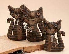 Primitive Cat Doll Folk Art Unusual Cat Lover Gift Extreme Primitive Textile Doll Primitive Animal