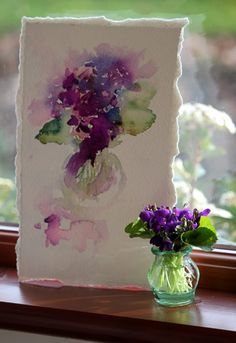 Violets in Watercolour, br Jean Haines, from her Watercolours With Life blogspot. Really neat blog. She is from the UK