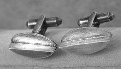 Studio Jeweler, Ed Weiner, sterling silver abstract design modernistic cufflinks, 1950s