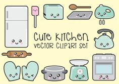 Premium Vector Clipart - Kawaii Kitchen Clipart - Kawaii Kitchen Clip art Set - High Quality Vectors - Instant Download - Kawaii Clipart by LookLookPrettyPaper on Etsy https://www.etsy.com/listing/263132441/premium-vector-clipart-kawaii-kitchen