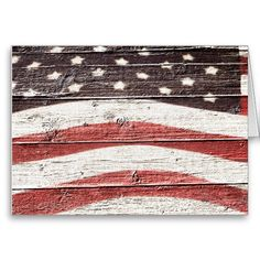 sold ! Painted #American Flag on Rustic Wood Texture Greeting Cards by RedWhiteAndBlue1  shipping to Greeneville, TN.