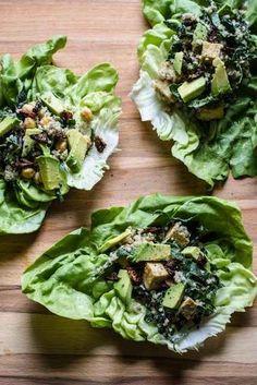 Caesar Lettuce Wraps with Kale, Quinoa, Tofu