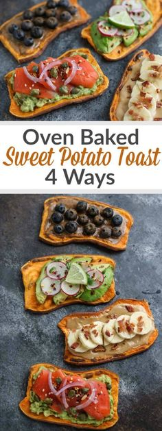 OVEN BAKED SWEET POTATO TOAST If you've been missing toast because you've given up grains - Sweet Potato Toast is the answer to your breakfast prayers! In this recipe you par-bake the slabs of sweet potato so all they need is a quick trip through the to Lunch Recipes, Whole Food Recipes, Vegetarian Recipes, Breakfast Recipes, Cooking Recipes, Healthy Recipes, Breakfast Toast, Sweet Potato Recipes Healthy, Breakfast Sandwiches