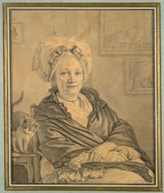 Jean-Michel the Younger Moreau (French, 1741-1814) - Seated Woman with a Cat (c. 1776) - Brush and gray and black wash