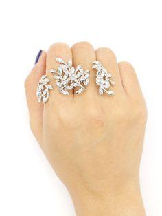 Silver Rhinestone Leaf Shape Open Linked Ring Pack