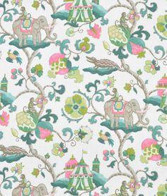 X P Kaufmann Sultan's Walk Emerald Elephant Monkey Flower Scroll Custom Curtain Panels Fabric Wallpaper, Pattern Wallpaper, Fabric Design, Pattern Design, Textiles, Fabric Remnants, Custom Curtains, Panel Curtains, Curtain Panels
