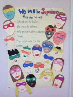 A Love for Teaching: Superheroes for the year! Fun lessons for the beginning of the year : ) Make the basic poster and have students draw faces of superheros to superimpose around the words Superhero Classroom Theme, Classroom Displays, Classroom Themes, School Classroom, Classroom Organization, Superhero Party, Superhero Behavior, Classroom Contract, Class Contract