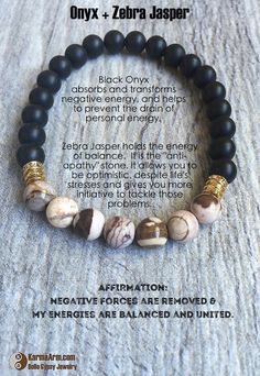 AFFIRMATION: Negative Forces are removed & my energies are balanced and united. - CENTER: Onyx + Jasper Yoga Mala Bracelet