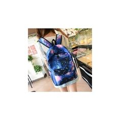 Galaxy Print Canvas Backpack ($15) ❤ liked on Polyvore featuring bags, backpacks, accessories, galaxy bag, day pack backpack, backpacks bags, canvas bag and canvas knapsack