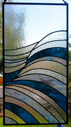 Stained Glass Window Panel - Waves Abstract Stained Glass - Stained Glass