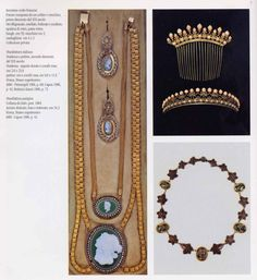 jewelry owned by Caroline Bonaperte Murat: neckace and erraing c. 1800-10, gold and cameos in glass paste; gold and coral tiara and comb, c. 1810; mourning necklace, made in steel, c. 1804