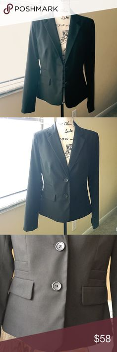 Banana Republic Black Suit Jacket Could this be your lucky 🍀 suit? 😎 Only worn once or twice to interviews... Got the job and it has been in my closet (in a garment bag) ever since!!  Almost NEW! Shoulder lightly padded. Length is approx. 65 cm Shoulder to shoulder approx. 38 cm Reasonable offer welcome! Banana Republic Jackets & Coats