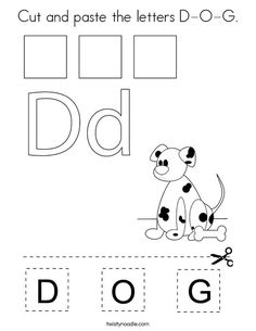 Cut and paste the letters D-O-G Coloring Page - Twisty Noodle Preschool Color Activities, Numbers Preschool, Preschool Letters, Learning Letters, Letter D Worksheet, Alphabet Worksheets, Preschool Worksheets, Learning Time, Learning Resources
