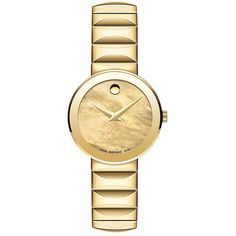 Movado Sapphire Yellow Goldplated Stainless Steel Faceted Link... (£785) ❤ liked on Polyvore featuring jewelry, watches, gold, movado watches, monarch butterfly jewelry, bracelet watch, sapphire watches and bezel watches