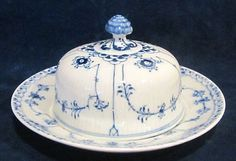 Royal Copenhagen Blue Fluted Half Lace Covered Butter Dish 502 | eBay