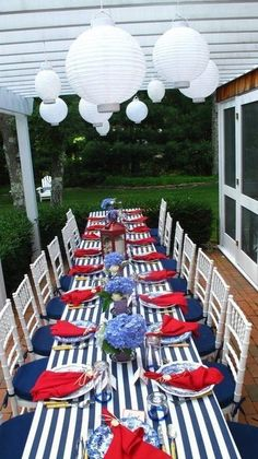 This fabulous #4thofJuly decor is on point! We love the use of patriotic colors peppered with sophisticated metallic touches and the natural decor and backdrop.