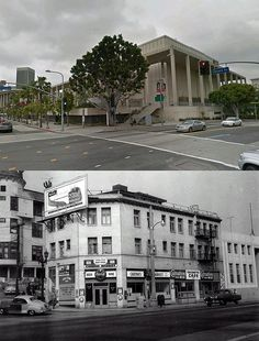 view looking at the south west corner intersection of grand and temple 1955 and now by gsjansen, via Flickr