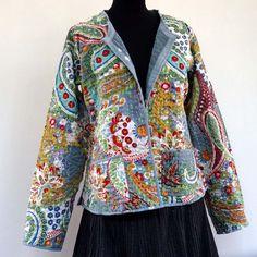 Veste courte réversible multicolore et grise en coton gaudri imprimé paisley fantaisie : Manteau, Blouson, veste par akkacreation