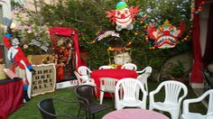 CarnEvil backyard Halloween 2015 my own props Halloween Carnival, Halloween 2015, Halloween Party, Circus Party, Birthday Candles, Party Ideas, Backyard, Christmas Ornaments, Holiday Decor