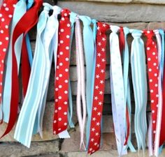 Red and Aqua Ribbon Banner