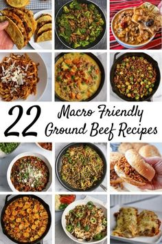 A Roundup Of 22 Macro Friendly Ground Beef Recipes Ranging From Skillets, Stir Fry, And Pasta To Burgers, Tex-Mex, And Soup. Each Recipe Includes Calorie And Macronutrient Breakdowns As Well As Ww Smart Points. Ground Beef Nachos, Healthy Ground Beef, Ground Beef Recipes, Lunch Recipes, Diet Recipes, Cooking Recipes, Healthy Recipes, Grill Recipes, Clean Recipes