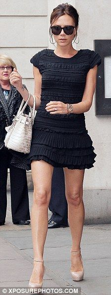 Black dress with nude pumps and a brown bag in Yorkville | Work ...