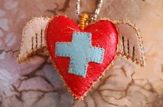 Winged Heart Pendant necklace by diddywadiddy on Etsy, $108.00