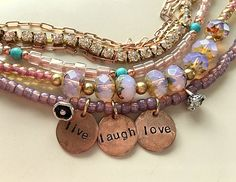 Live, Laugh, Love Statement Multistrand Beads, Rhinestones and Chain Bracelet Charm Bracelet by MagicalUniverse on Etsy