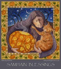 Art by Wendy Andrew-Samhain Blessings Macabre Art, Danse Macabre, Solstice And Equinox, Samhain Halloween, Halloween Art, Happy Halloween, Book Of Kells, Triple Goddess, Wise Women