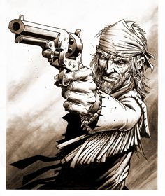 Kitchell Hawken, drawn by Tim Truman, from the comic co-created with his son, Ben. The comic is some of the best work I've seen Tim Truman produce, and the story is probably the meanest, grittiest, most violent weird Western I've yet encountered. Great stuff!