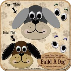 Build A Dog  Digital Scrapbooking by LatteDahDesigns on Etsy, $2.00