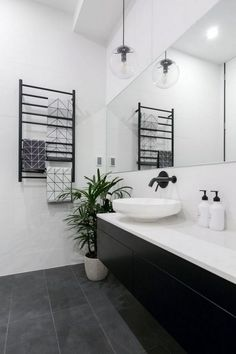 31 Interesting Black And White Bathroom Design Ideas. If you are looking for Black And White Bathroom Design Ideas, You come to the right place. Below are the Black And White Bathroom Design Ideas. Black And White Tiles, Gray And White Bathroom, Trendy Bathroom, Stylish Bathroom, Modern Bathroom, White Bathroom, Black Bathroom Floor, Bathrooms Remodel, White Bathroom Interior