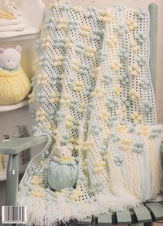 ❤❤❤ ROLY-POLY AFGHAN ❤❤❤ Preciously designed...I can see that this cozy blanket was made with so much love - 5 more design patterns to choose from. - Easy ~ Crochet Baby Blanket / Afghan