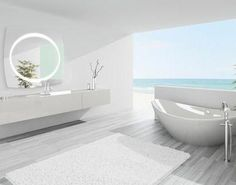Excellent Cost-Free concrete Bathroom Floor Tips The best way you ever viewed as installing roof tiles throughout your bathroom by yourself? Vinyl Flooring Bathroom, Bathroom Vinyl, Bathroom Mirror Cabinet, Concrete Bathroom, Vinyl Plank Flooring, Bathroom Faucets, Bathroom Interior, Small Bathroom, Mirror With Lights