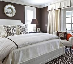 Dark Brown/ Chocolate bedroom with white trim.