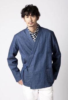 【BLUE BLUE JAPAN】メンアサデニム ストレッチハオリシャツ