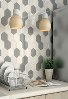 Looking for Colourful Hexagonal Tiles in Ireland? At The Italian Tile and Stone Studio in Terenure and Swords we have Hexagonal Tiles in 10 Colours and 2 finishes Kitchen Wall Tiles, Ceramic Wall Tiles, Modern Kitchen Backsplash, Backsplash Tile, Kitchen Interior, Kitchen Design, Kitchen Decor, Modern Interior, Interior Design