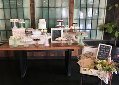 dessert table with favor bags to go