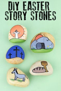 Make these easy Easter Story Stones to help teach your children about the meaning behind the Christian Celebration of Easter. Read aloud the story of Easter and then create and use these simple stones to retell the story. Skip to easters Easter Story For Kids, Easter Crafts For Kids, Easter Stories, Bunny Crafts, Easter Ideas, Story Stones, Bible Crafts, Crafts To Do, Easy Crafts