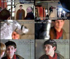 BBC Merlin they're best friends behind the scenes too! Colin Morgan, Merlin Memes, Merlin Funny, Merlin Quotes, Bradley James, Bbc, Ella Enchanted, Merlin Fandom, Merlin And Arthur