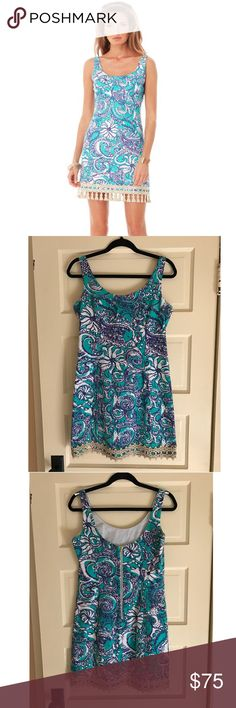 Lilly Pulitzer Eaton Shift Dress in Montauk Worn only twice! Flattering and form fitting, falls above the knee. Tassels were removed as they were just a little too flashy in person. Lilly Pulitzer Dresses Mini
