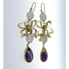 Soprana Earrings Amethysts, freshwater peals, yellow