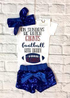 Baby Girl Clothes, New York Giants Onesie, Baby Girl New York Giants Bodysuit, On Sunday we watch Giants Football With Daddy Bodysuit, Giants Onesies, New York Giants Baby Clothes, New York Giants Bodysuits - BellaPiccoli