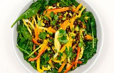 Some meatless main-course salads leave you hungry a few hours later, but this isn't one of them. There are plenty of colourful components to chew on, all tossed with a fresh mango sauce that would be at home atop buckwheat pancakes or in a bowl for dipping summer rolls.