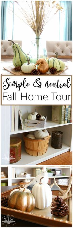 A mini Fall home tour of one blogger's home decorated in simple neutrals.