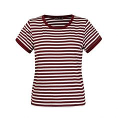Ally Fashion Mixed stripe ringer tee (€8,42) ❤ liked on Polyvore featuring tops, t-shirts, striped t shirt, white stripes t shirt, striped top, stripe top and white t shirt