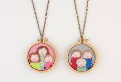 Custom embroidered portrait necklaces from Dandelyne on Etsy. Wow!