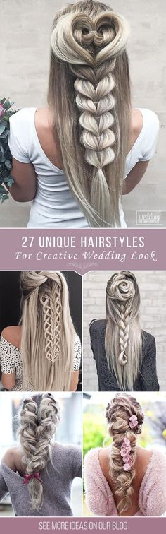 27 Creative & Unique Wedding Hairstyles � From creative hairstyles with romantic, loose curls to formal wedding updos, these unique wedding hairstyles would work great either for your ceremony or for your reception. See more: http://www.weddingforward.com