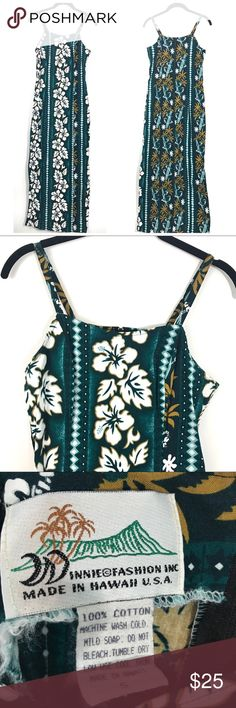 Winnie Fashion Hawaiian Green Hibiscus Print Dress Brand- Winnie Fashion Size- Small Color- Green Hibiscus Print Material-100% Cotton Care- Machine Washable Slits up both sides, Zip Back, Spaghetti Straps In good condition, no tears or stains. Worn once to a Hawaiian themed party.  Approximate Measurements (Taken lying flat) Bust-32 inches (16 across, underarm to underarm) Waist- 28 inches (14 across) Length- 52 inches Slits- Go up 16.5 inches on both sides Winnie Fashion Dresses Maxi